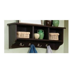 Alaterre Furniture - Shaker Cottage Coat Hooks w Storage - Storage cubbie with coat hooks. Made of composite wood. Assembly required. 1-Year warranty. Interior cube: 7.25 in. W x 10.5 in. H. 36 in. W x 9 in. D x 14 in. HKeep your coats, gloves and hats organized with this practical wall hanging unit. Hang this unit inside a door in your Mud Room.