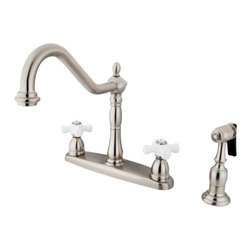 "Kingston Brass - 8"" Center Kitchen Faucet with Brass Sprayer - Victorian style Two Handle Deck Mount, 4 hole Sink application, 8"" Widespread, Solid Brass Side Spray, Fabricated from solid brass material for durability and reliability, Premium color finish resist tarnishing and corrosion, 360 degree turn swivel spout, 1/4 turn On/Off water control mechanism, 1/2"" - 14 NPS male threaded inlets, Duraseal washerless valve, 2.2 GPM (8.3 LPM) Max at 60 PSI, Integrated removable aerator, 9-1/2"" spout reach from faucet body, 11"" overall height, Ten Year Limited Warranty to the original consumer to be free from defects in material and finish.; Brass Sprayer Included; Brushed Nickel Finish; 1/4 Turn Washerless Cartridge; Porcelain Cross Handle; 4 Holes Installation with an 8-1/2"" spout reach; Material: Brass; Finish: Satin Nickel Finish; Collection: Heritage"