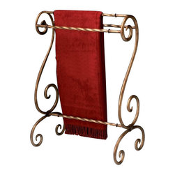 Butler Specialty - Butler Specialty Metalworks Blanket Stand in Bronze Finish - Butler Specialty - Blanket Racks - 1939025. This functional blanket stand has a stunning bronze finished metal. It also features horizontal rails for hanging quilts comforters bedspreads as well as blankets. This blanket stand can also be used for hanging guest towels. Bronze finished metal. Horizontal rails for hanging quilts comforters bedspreads as well as blankets. Can also be used for hanging guest towels.