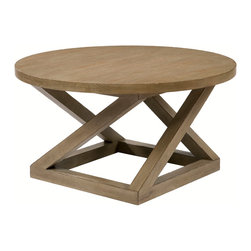 Kathy Kuo Home - Modern Casual Distressed Taupe Gray Landon Cocktail Table - If only geometry class had been this much fun! Modern circles, lines, angles and squares create the perfect centerpiece for your living or family room. And the wood is finished to look like a distressed antique, making it feel as if it's been a part of the family forever.