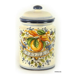 Artistica - Hand Made in Italy - Aranci: Canister Farina (Flour) - Aranci Collection: This item is part of our popular Aranci collection which feature oranges and lemons embellished with arabesque leaves and cobalt blue trim by our Italian painter.
