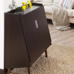 Furniture of America - Furniture of America Trapezy Walnut Multi-purpose Storage Cabinet - The Trapezy cabinet offers a modern update to any home decor with its unique shape and durable quality. Two shelving units within and a sleek,smooth top make this the perfect accent to enhance your existing living space.