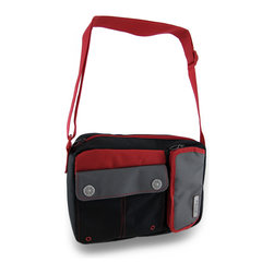 Zeckos - Roho by Thermos Portable Black, Red and Gray Insulated Cooler Lunch Bag - This fashionable Roho by Thermos cooler bag is perfect to pack lunches in for work or school, to stow in the car for frequent diners out to take home leftovers, or carry snacks for a day at the beach or sporting events. It features a front mesh lined zippered pocket to hold your drink, and a snap pocket great to store utensils, napkins or towelettes, and a roomy interior. It's easy to carry with the 1.5 inch wide nylon web strap that adjust that provides a 10-22 inch drop to sling over your shoulder, carry it in your hand or cross body style, and is sized just right at 11 inches long, 7 inches high, and 3.5 inches wide (28 x 18 x 9 cm). It secures with a top zipper, and the 100% PVC free liner easily wipes clean with a soft cloth and mild detergent (allow to air dry before storage). This black, red and gray lunch tote is a fashionable, reusable, multi-purpose alternative to the traditional brown bag.