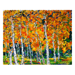 'Aspens' Framed Oil Painting - Express yourself. This boldly beautiful oil painting by renowned expressionist painter Zolita Sverdlove, will add an instant shot of color to your interiors. It's mounted in a natural wood box exhibition frame for vintage appeal.