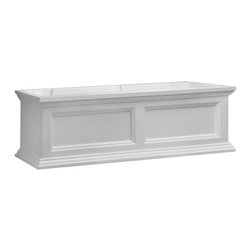 """Mayne Inc. - Fairfield Window Box, White, 3 Feet - Why limit your style to the indoors?  Mayne planters will transform your property into a personal retreat with outdoor flair.  Built-in water reservoir encourages healthy plant growth by allowing plants to practically water themselves.  Accent your home with our New England design window boxes.  Our molded plastic planters are made from high-grade polyethylene, double wall design.  Sub-irrigation water system, encourages root growth. Inside dimensions are 32""""L x 7.5""""W x 8""""D, approximately 6.5 gallon soil capacity.  Water reservoir capacity is approximately 3 gallons (11 Liters).  Includes 3 wall mount brackets with a black powder coated finish.  15-year limited warranty."""