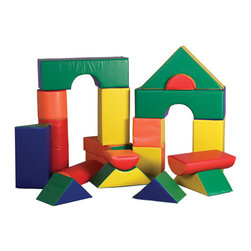 Ecr4kids - Ecr4Kids Soft Zone 21 Pc. Jumbo Soft Blocks - A set of 21 jumbo soft blocks, designed just for young architects, engineers and builders! Little ones can build up, out and all around with these lightweight jumbo blocks. Encourages social interaction, imagination and invention as well as gross and fine motor skills. Soft, sturdy, polyurethane foam shapes are covered in reinforced, phthalate-free vinyl to create a comfy and stimulating learning environment.