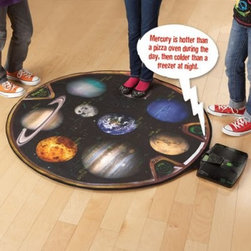 Educational Insights Geosafari Talking Planetary Mat - Completely interactive the Educational Insights Geosafari Talking Planetary Mat demonstrates the changing forces of gravity on different planets as well as the moon. Ever wonder what you would weight on Mars Jupiter or the moon? The Talking Planetary Mat features all eight planets plus the moon and includes fun facts and quiz questions to help your child understand gravity weight mass and basic astronomy. This galactic planet mat is printed with nine celestial bodies and a scale which calculates your weight in pounds or kilos (up to 300 pounds) on each of the planets as well as the moon. This mat also has 40 fun planetary facts two modes of play (Fact & Game) and a 12-page guide with activity ideas so your child doesn't get bored. Featuring the voice of Dr. Neil DeGrasse Tyson the director of the Hayden Planetarium at the American Museum of Natural History in New York City you and your child will love playing and learning together. About Educational InsightsBased in Southern California Educational Insights specializes in the manufacturing and innovation of educational toys and games. Early childhood math language Spanish science and social studies are all subjects they tackle in fun and inspiring ways. Teacher resources classroom products and games like Jeopardy are all a part of Educational Insights rich inventory designed by experienced educators and parents because they know best! Make learning fun with Educational Insights.