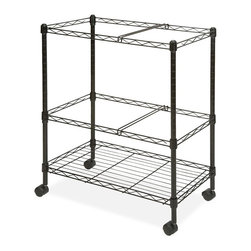 Lorell - Lorell Mobile Wire File Cart - 4 Caster - Steel - 26 x 12.5 x 30 - Black - Wire file cart offers two tiers of mobile filing to organize projects anywhere in your office. Letter-size folders can be placed in two rows for front-to-back filing or one lengthwise row on each file frame. The bottom shelf can be used for storage if additional filing is not needed. File frames accommodate both letter-size and legal-size hanging file folders. Wire cart is made of sturdy steel construction with a scratch-resistant, powder-coat finish. Two of the four swivel casters lock so you can secure the cart by your desk or file cabinet with no concern of it rolling away.