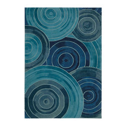 """Kathy Ireland - Kathy Ireland KI04 Palisades KI402 3'9"""" x 5'9"""" Denim Area Rug 10436 - Stunning circles in rich saturated shades swirl and twirl in an eye-catching optical illusion across this dynamic contemporary rug. Featuring sleek elements, shaped from a profuse, hand-tufted cut and loop pile, Ovation displays outstanding texture and enduring splendor. This sensational rugs simply demands to be noticed. Our Ovation rug lives in our Architectural Style Guide."""
