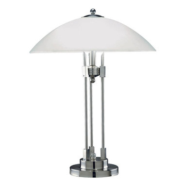 Lite Source - Table Lamp With Glass Shade, Ps/Frost Glass, E27 CFL 13Wx2 - Table Lamp With Glass Shade, Ps/Frost Glass, E27 CFL 13Wx2
