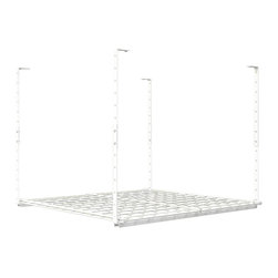 HyLoft - 36 in. Ceiling Mounted Shelf in White - High grade steel hardware. Finished and unfinished ceiling application. Warranty: Lifetime limited. Made from steel. Scratch resistant powder coat. Minimal assembly required. Adjustable Height: 16 - 28 in.. Volume Capacity: Over 35 cubic feet . Weight Capacity: 150 lbs.. 36 in. L x 36 in. W x 29 in. H (18.96 lbs.). Assembly InstructionsTake advantage of your unused ceiling space by turning it into storage space. The HyLoft ceiling storage units are ideal for getting those infrequently used items off the floor and out of the way. Multiple units can be installed side by side. HyLoft ceiling storage units are great for the garage, basement, attic, closet, office or any other room that is in need of more storage. HyLoft ceiling storage units are ideal for storing large, bulky items like holiday decorations, luggage, and coolers. All of the space-saving Hyloft accessories can be used with this item.