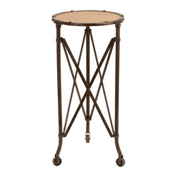 Benzara - Restoration Style Table Wheels Brown Metal Frame Wood Furniture Decor 51867 - Restoration style accent table on wheels with antiqued brown metal frame & wood grain round surface furniture decor
