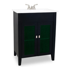 "Hardware Resources - Lyn Design VAN063 - This 28-1/8"" wide MDF vanity features a clean modern design with aqua green art class inserts in the door fronts and a sleek black finish. A large cabinet with a fixed shelf allows for ample storage. This vanity has a 2CM white porcelain top and integrated rectangular bowl preassembled, holes cut for 4"" faucet spread that requires a pop-up assembly without overflow. Overall Measurements: 28-1/8"" x 18"" x 35-3/4"" (measurements taken from the widest point)"