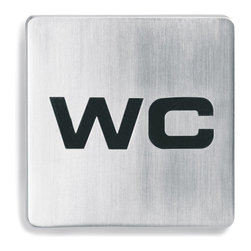 """Blomus - Stainless Steel """"WC"""" Square Sign - Stainless steel """"Water Closet"""" self-adhesive door sign by Blomus with black rubber inset which contrasts for high visibility."""