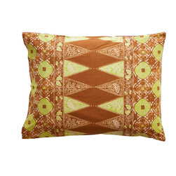 Sadas Life - Bruket Collection, Brown and Chartruese, King - Traditional Indonesian double tumpal center motif, envelope closure, Standard (20″ x 26″), King (20″ x 36″).