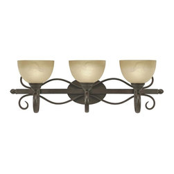 Golden Lighting - Riverton PC 3-Light Bath Fixture in Peppercone - Bulbs not included. Traditional style. Requires three 100 watt medium incandescent Type A bulbs. Sophisticated wide linen swirl glass shade. Can be mounted with the glass facing up or down. Oval arm shape. Provides a well diffused light over a vanity or mirror for grooming. Black and white wire gage. Three E27 type sockets in porcelain white. Electric wire gage: 3321 18# 150 degree C. Maximum wattage: 100W. Total wattage: 300W. UL and CUL certified. UL listed damp location for use in bathroom or under an eave. Made from metal and glass. Wire length: 8 in.. Fixture extension: 9.25 in.. Backplate extension: 0.75 in.. Backplate: 8 in. W x 5.37 in. H. Glass: 7 in. Dia. x 4.25 in. H. Overall: 30.5 in. W x 10 in. H (10.14 lbs.). Assembly Instructions. Warranty