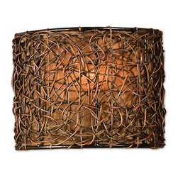 Uttermost - Uttermost Knotted Rattan Wall Sconce in Hand Rubbed Espresso - Shown in picture: Hand Rubbed Espresso Finish With A Silken Bronze Linen Liner. Hand rubbed Espresso finish.