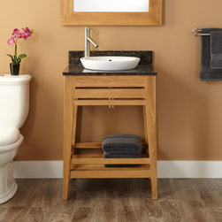 """24"""" Aurelia Teak Vanity for Semi-Recessed Sink - Add a refreshing look to a small bath or powder room with the 24"""" Aurelia Teak Vanity. A lower shelf on this fashionable vanity feature offers space for placing toiletries and towels within easy reach."""