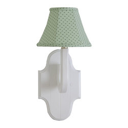 Charn&Co. - Green Stargazer Traditional Wall Sconce - Add a little color to your child's nursery with this stargazer green mini print on our traditional white wall sconce.