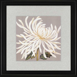 Paragon Decor - Glorious Whites I Artwork - Print is raised with hand painted silver bevels. A decorative paper covered board add the right touch of elegance.