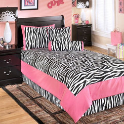 Signature Design by Ashley - 5 Pc Twin Bedding Set in Fuchsia - Material: Cotton (100%). Color/Finish: Fuchsia. 1 oversized comforter. 1 bed skirt (15 inch drop). 2 pillow shams (1 pillow sham in twin). 2 decorative accent pillows. Machine washable. 63 in. W x 86 in. D
