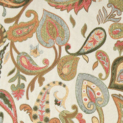 Green, Red, Yellow and Off White, Floral Paisley Contemporary Upholstery Fabric - This contemporary upholstery jacquard fabric is great for all indoor uses. This material is uniquely designed and durable. If you want your furniture to be vibrant, this is the perfect fabric!