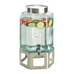Cal Mil - 10.75W x 11.5D x 22.75H Stainless Steel Cutout Beverage Dispenser 2 Gallon 1 Ct - Showcase your beverages with this elegant and stylish beverage dispenser. Made from beautiful green glass this dispenser elegantly displays colorful juices water iced tea and any other beverage of your choice. Each beverage dispenser features a removable ice chamber or infusion chamber to keep your beverages cold and fresh and securely sits on a elegant stainless steel base