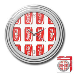 Trademark Global - Cans Style Coca-Cola Clock with Chrome Finish - Includes retail packaging. Requires 1 AA battery. Battery not included. High grade acrylic cover. High gloss Chrome molded case. Full color logo on the clock dial. Brushed metal clock hands. Wall hanging mount. 2 in. L x 11.75 in. W x 11.75 in. H (1.67 lbs.)Bring the unique style of the world's most recognizable brand home with this incredible Coca-Cola clock. This retro clock features a Coca-Cola can design and the high gloss Chrome molded case adds a brilliant shine to the clock. Make a spectacular addition to your kitchen, den or game room with this amazing clock.