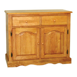 Sunset Trading - Eco-Friendly 2-Door Buffet - Traditional American classic styled piece. Ample storage without compromising space or style. Appropriately multi-functional. Sturdy quality craftsmanship. Hand crafted solid wood and wood veneer. Two drawers with round knob handles for easy sliding. Panel cathedral arch raised doors with adjustable shelf. Scalloped apron trim at bottom of base. Warranty: One year. Made from Malaysian oak. Light oak finish. Made in Malaysia. No assembly required. 37.5 in. W x 17.5 in. D x 31 in. H (77 lbs.)This beautifully designed furniture supplied by Sunset Trading will assure you many years of use and enjoyment. Invite a touch of country warmth and beauty into your home with this from the Sunset Trading - Sunset Selections Collection. Versatile enough to complement your dining area, den or office. For enhanced elegance pair this piece with the matching glass door hutch. Prominently display your china, books or family collectibles bringing warmth and classic beauty to your home. A timeless piece for generations to come!
