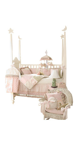 """Glenna Jean - Isabella Crib Bedding Set 4-Piece Set - The Isabella Crib Bedding Set by Glenna Jean is embellished throughout with decorative tassels and cords. This bedding set features a lovely combination of pink and green in a unique array of fabrics including a touch of toile, soft velvet, star jacquard, woven gingham, embroidered rosebuds and sheer stripes. The crib skirt has two layers that are sewn together to prevent slippage. The bumper ties are 2"""" wide pink satin ribbons."""