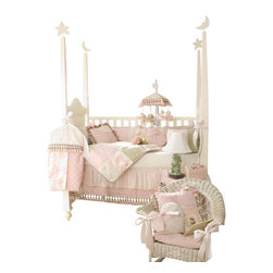 "Glenna Jean - Isabella Crib Bedding Set 4-Piece Set - The Isabella Crib Bedding Set by Glenna Jean is embellished throughout with decorative tassels and cords. This bedding set features a lovely combination of pink and green in a unique array of fabrics including a touch of toile, soft velvet, star jacquard, woven gingham, embroidered rosebuds and sheer stripes. The crib skirt has two layers that are sewn together to prevent slippage. The bumper ties are 2"" wide pink satin ribbons."