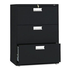 HON - HON 600 Series 30 Inch Three Drawer Lateral File - HON673LL - Shop for File and Storage Cabinets from Hayneedle.com! Add convenience and storage to your office space with the HON 600 Series 30-Inch Three-Drawer Lateral File. This wide file cabinet has three generously sized drawers that hold both letter and legal folders. A lock at the top controls all openings and the mechanical interlock feature allows only one drawer to open at a time to prevent the file cabinet from tipping.Designed for intense daily use this file cabinet has a three-part telescoping slide suspension and leveling glides are adjustable for uneven floors. It is available in your choice of putty black light gray or light charcoal finish. Delivered fully assembled. Dimensions: 30W x 19.25D x 40.87H inches.About the HON CompanyHeadquartered in Muscatine Iowa the HON Company is established as a leader in the office furniture industry. The HON Company designs and manufactures products including chairs files panel systems tables and desks. With several national manufacturing facilities the company provides products through a system of dealers and retailers throughout the United States.As the landscape of today's office and classroom continues to change with new technologies the HON Company has created office furniture teacher stations and student desks that anticipate and adapt to the newest waves of high-tech products. Additionally in an effort to think and act green the HON Company uses less packing material reduces their amount of fabric waste and uses recycled wood from other furniture.