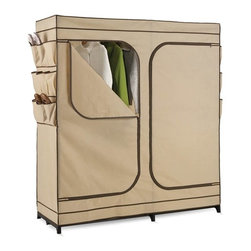 "60In Double Door Storage Closet With Shoe Organizer - Honey-Can-Do WRD-01272 60"" Portable Cloth Storage Wardrobe, Khaki. The granddaddy of all economy storage closets, this amazing wardrobe measures a generous 60-inches wide and works great for extra hanging space or seasonal storage. The high-capacity steel rod will hold all of your dresses, shirts, pants and other items giving you an excuse to shop for more!  The breathable, lightweight fabric completely surrounds your garments, protecting them from dust and debris, and offers the convenience of two D-Style zipper doors for easy access. Integrated 9-pocket exterior storage is perfect for sandals and accessories."