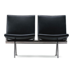 Wegner CH402 Sofa - CH402, CH403 and CH404 are a series of minimalist sofas with clean lines, atop a stainless steel base. Handmade on a beech wood frame. Legs and the boomerang-shaped sides are made of stainless steel.