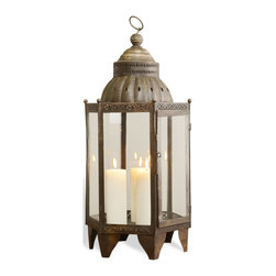 Kathy Kuo Home - Sellano Rustic Antique Iron Bazaar Hanging Candle Lantern - You could travel to Istanbul's Grand Bazaar and discover this rustic beauty, or you could start enjoying the elegant style and light of this hanging lantern right now and save space in your suitcase for other items on that trip!  Resting on a surface or hanging solo or in a group from the ceiling, this iconic piece of global bazaar lighting creates an instant sense of time and place.