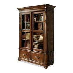 Riverside Furniture - Bristol Court Bookcase - Two sliding framed-glass doors enclose one fixed and two adjustable shelves.