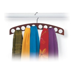 Richards Homewares - 10-Hole Scarf Hanger - Walnut - A simple and elegant way to organize your scarves, belts and sashes. This graceful hardwood hanging organizer gives you ample space to hang your accessories. Fill the 10 round spaces with your beautiful scarves or belts for a colorful display and you won't want to hide your collection in the closet! Crafted of hardwood with a natural or walnut finish, and chrome accents.