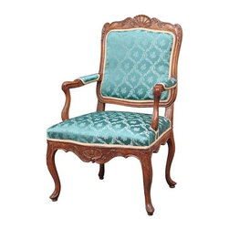 French/Swedish Louis XV Walnut Armchair (Fauteuil) - Ref: CH2374