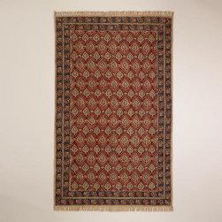 5'x8' Rust Bordered Block Print Kalamkari Rug -