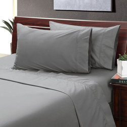 None - Cloudburst 400 Thread Count Hemstitch Sheet Set - This lovely cloudburst grey 400 thread count hemstitch sheet set is constructed of 100-percent cotton and features a 15-inch pocket depth on the fitted sheet with a 360-degree wrapped elastic. The pillowcase and flat sheet have a 4-inch cuff.