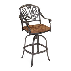 Home Styles - Home Styles Floral Blossom Swivel Stool with Cushion in a Charcoal Finish - Home Styles - Outdoor Bar Stools Patio Barstools - 555889 -By combining outdoor elements such as ceremonial and abstract floral designs, the Floral Blossom Bar Stool with Cushion by Home Style is brought to life.