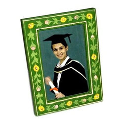 Potteryville - Ceramic Frame, Green with yellow and pink flowers - Blue Pottery Photo Frame (Design 03)