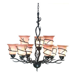 Kenroy Home - Kenroy Home 90909 9 Light Up Lighting Chandelier Twigs Collection - Twigs Two Tiered 9 Light ChandelierNutmeg Features Vintage Scavo GlassBronze Features Amber Iridescent Glass9-60w max medium base bulbs (Not Included)