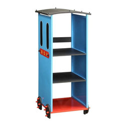 Adarn Inc - Youth Colorful Red Blue Black 3-Tier Fixed Shelf Bookcase Bookshelf with Wheels - Features: