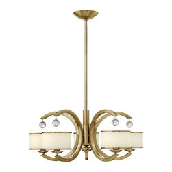 Hinkley Lighting - 4855BC Monaco Chandelier, Brushed Caramel, Etched Opal Metal Trimmed Glass - Transitional Single Tier Chandelier in Brushed Caramel with Etched Opal Metal Trimmed glass from the Monaco Collection by Hinkley Lighting.