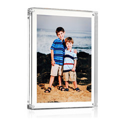 """Sleken - Medal Blocks - Premium Acrylic Block Picture Frame - 6"""" x 8"""" - Sleken provides sleek designs and displays and is a brand offered by Medal Blocks. This high quality picture frame is for those who prefer not to have their picture take up the entire frame and want to leave plenty of space to act as a clear border. This is not a 5"""" x 7"""" frame, it is a 6"""" x 8"""" x 1"""" frame that is an excellent fit for a 5"""" x 7"""" picture that leaves 1/2"""" border on all sides of the picture to allow for the floating effect. No cropping required for this frame! Premium features that set Sleken frames apart from others include anti-scratch acrylic, which drastically improves the chances of unwanted blemishes. The beveled edges may seem minor, but really make the quality stand out. To top it off, these frames are packaged in a two piece gift box and microfiber bag. These features all contribute to very high quality frames and make great gifts."""