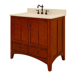 """Sunny Wood - Sunny Wood EP3621D Cinnamon / Nutmeg Expressions 36"""" Wood Vanity - 36"""" Wood Vanity Cabinet from the Expressions CollectionThe Expressions collection from Sunny Wood is based on the Shaker aesthetic with its casual simplicity.  The vanities feature arched cross rails, tapered feet, and inset doors and drawers.  Finished in a lightly distressed medium tone finish, these vanities fit into nearly every décor.  Durable construction features solid face-frame construction and dual side-mount drawer slides.  Accenting antique brass cabinet hardware finishes the look of the exquisite yet subtle Expressions collection.Product Details:Dimensions: 36""""W x 21""""D x 34""""HConstructed of Maple hardwoods and veneers2 Door, 2 Drawer DesignFully Inset Bottom DrawersFully Concealed and Adjustable HingesSlightly Out-Turned Shaker Styled Feet with Adjustable Foot TabsAmple interior storageCrated and shipped assembledExpressions vanities: 30"""" (EP3021D), 36"""" (this model), 48"""" (EP4821D)"""
