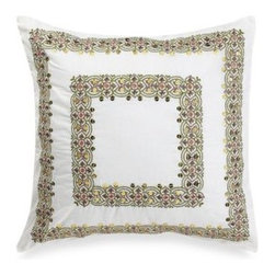 Steve Madden - Steve Madden Morgan 16-Inch Square Toss Pillow - Inspired by true bohemian style, this toss pillow is fun and free spirited while also featuring an updated palette of fresh greens and deep purples. Embroidery and sequins make it a lovely coordinate to the Morgan bedding.