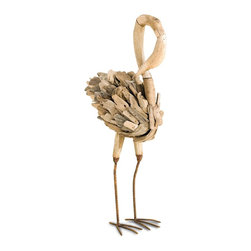 Currey and Company - Driftwood Flamingo - Driftwood that washed ashore is handcrafted and transformed into a whimsical flamingo. Each wood piece is naturally smoothed by the ocean and individually hand-selected for the sculpture. A carved beak adds to the organic beauty. Perch it on a bookshelf for a wonderful work of art that makes decorating your home with a green and sustainable conscience simple.