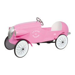 Beanpatch & Co. - Baghera Le Mans Pedal Car - Your daughter may be a girly girl in that she loves pink, but she also feels the need for speed. Surprise her with this retro pink roadster and satisfy her love for style and velocity.